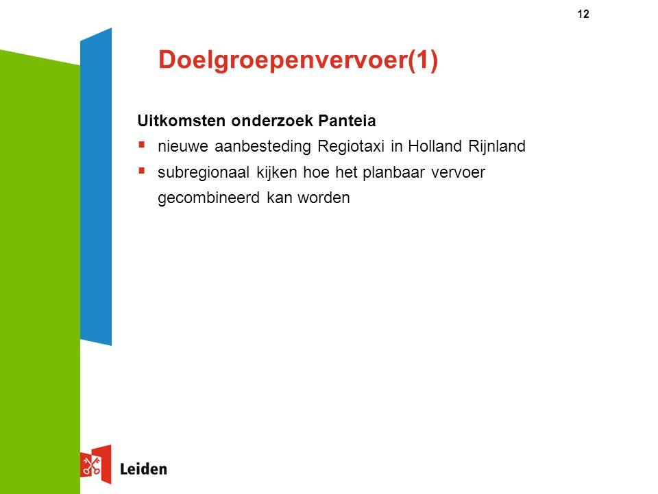 Doelgroepenvervoer(1) Uitkomsten onderzoek Panteia  nieuwe aanbesteding Regiotaxi in Holland Rijnland  subregionaal kijken hoe het planbaar vervoer gecombineerd kan worden 12