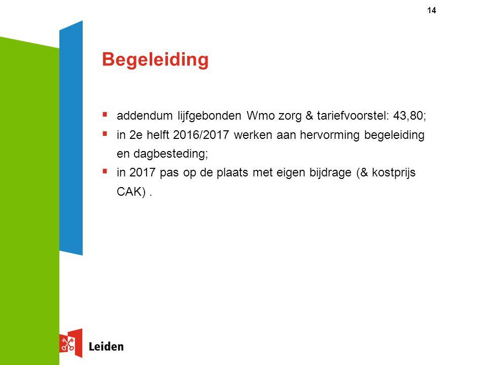 Begeleiding  addendum lijfgebonden Wmo zorg & tariefvoorstel: 43,80;  in 2e helft 2016/2017 werken aan hervorming begeleiding en dagbesteding;  in 2017 pas op de plaats met eigen bijdrage (& kostprijs CAK).