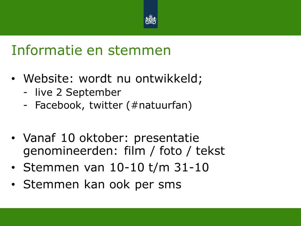 Informatie en stemmen Website: wordt nu ontwikkeld; -live 2 September -Facebook, twitter (#natuurfan) Vanaf 10 oktober: presentatie genomineerden: film / foto / tekst Stemmen van 10-10 t/m 31-10 Stemmen kan ook per sms