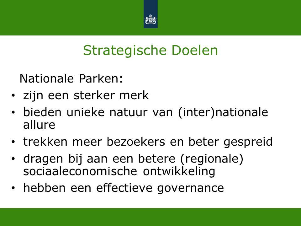 Strategische Doelen Nationale Parken: zijn een sterker merk bieden unieke natuur van (inter)nationale allure trekken meer bezoekers en beter gespreid dragen bij aan een betere (regionale) sociaaleconomische ontwikkeling hebben een effectieve governance