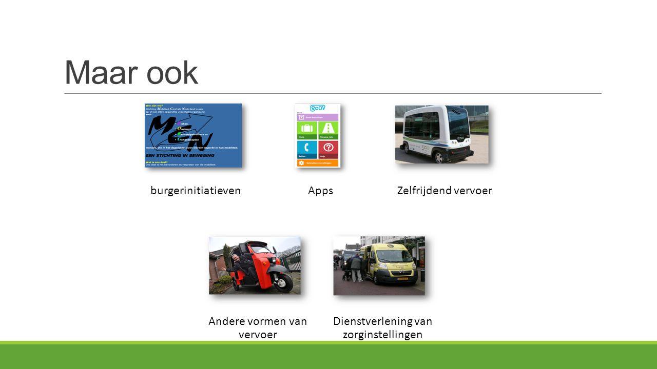 Maar ook burgerinitiatievenAppsZelfrijdend vervoer Andere vormen van vervoer Dienstverlening van zorginstellingen