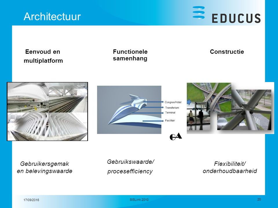 17/09/2016 20 SISLink 2010 Architectuur Eenvoud en multiplatform ConstructieFunctionele samenhang Gebruikersgemak en belevingswaarde Gebruikswaarde/ procesefficiency Flexibiliteit/ onderhoudbaarheid