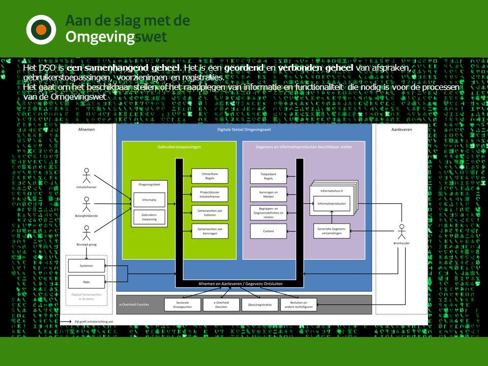 1. Het digitaal stelsel is niet één groot ICT systeem Het DSO is een samenhangend geheel. Het is een geordend en verbonden geheel van afspraken, gebru