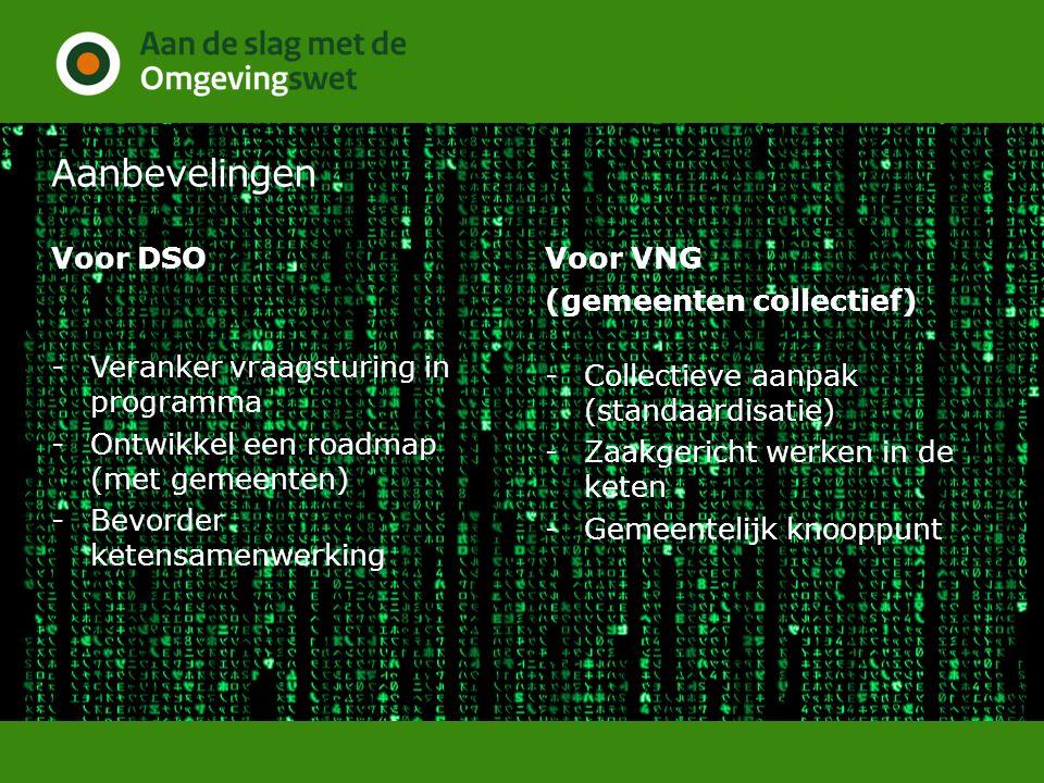 Aanbevelingen Voor DSO -Veranker vraagsturing in programma -Ontwikkel een roadmap (met gemeenten) -Bevorder ketensamenwerking Voor VNG (gemeenten collectief) -Collectieve aanpak (standaardisatie) -Zaakgericht werken in de keten -Gemeentelijk knooppunt