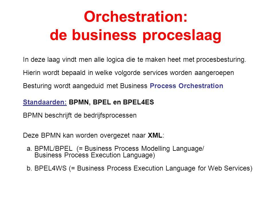 Orchestration: de business proceslaag In deze laag vindt men alle logica die te maken heet met procesbesturing.