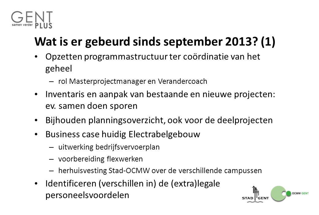 Wat is er gebeurd sinds september 2013? (1) Opzetten programmastructuur ter coördinatie van het geheel – rol Masterprojectmanager en Verandercoach Inv