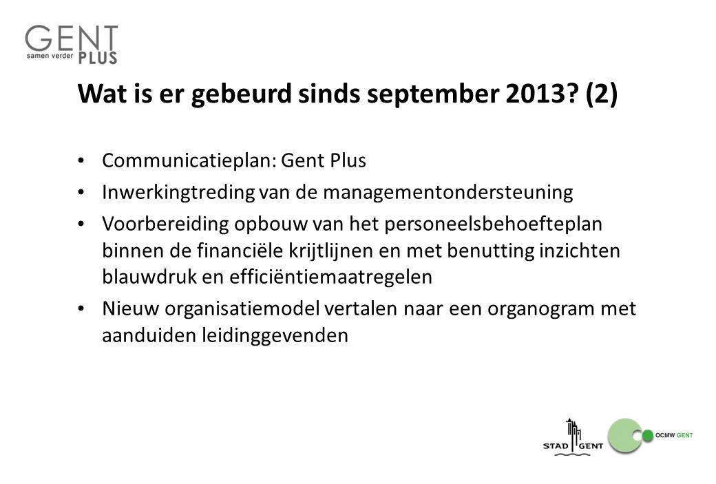 Wat is er gebeurd sinds september 2013? (2) Communicatieplan: Gent Plus Inwerkingtreding van de managementondersteuning Voorbereiding opbouw van het p