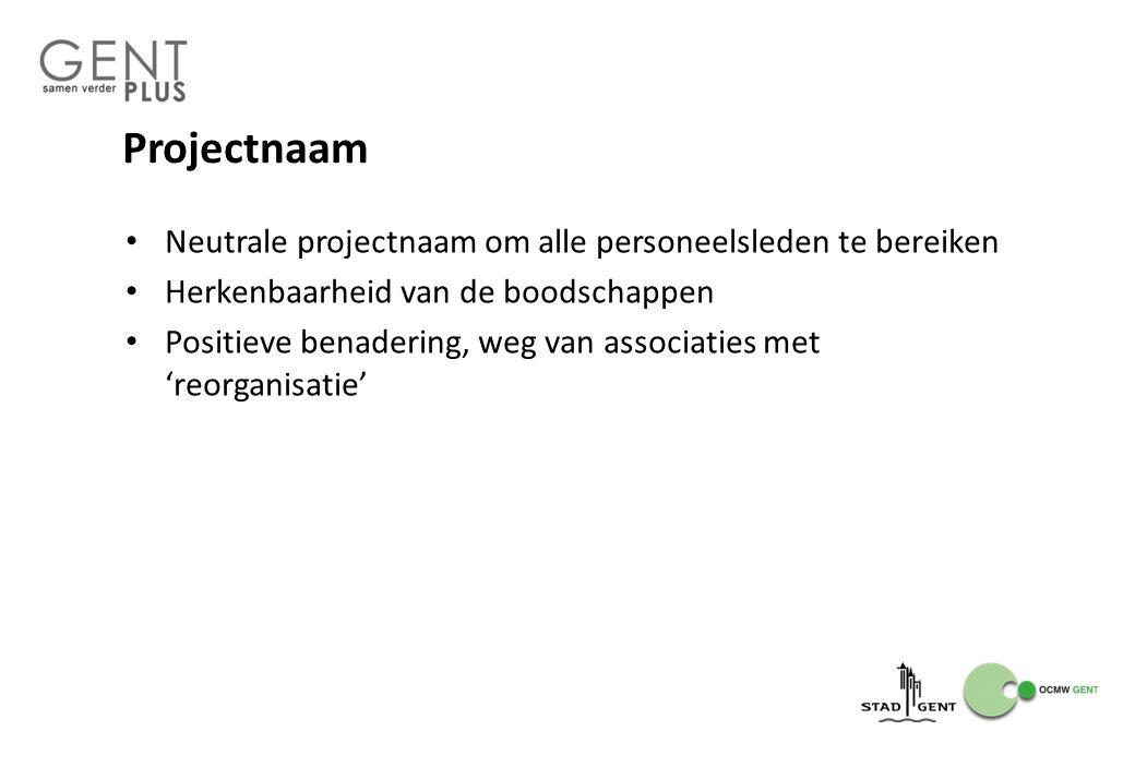 Projectnaam Neutrale projectnaam om alle personeelsleden te bereiken Herkenbaarheid van de boodschappen Positieve benadering, weg van associaties met 'reorganisatie'