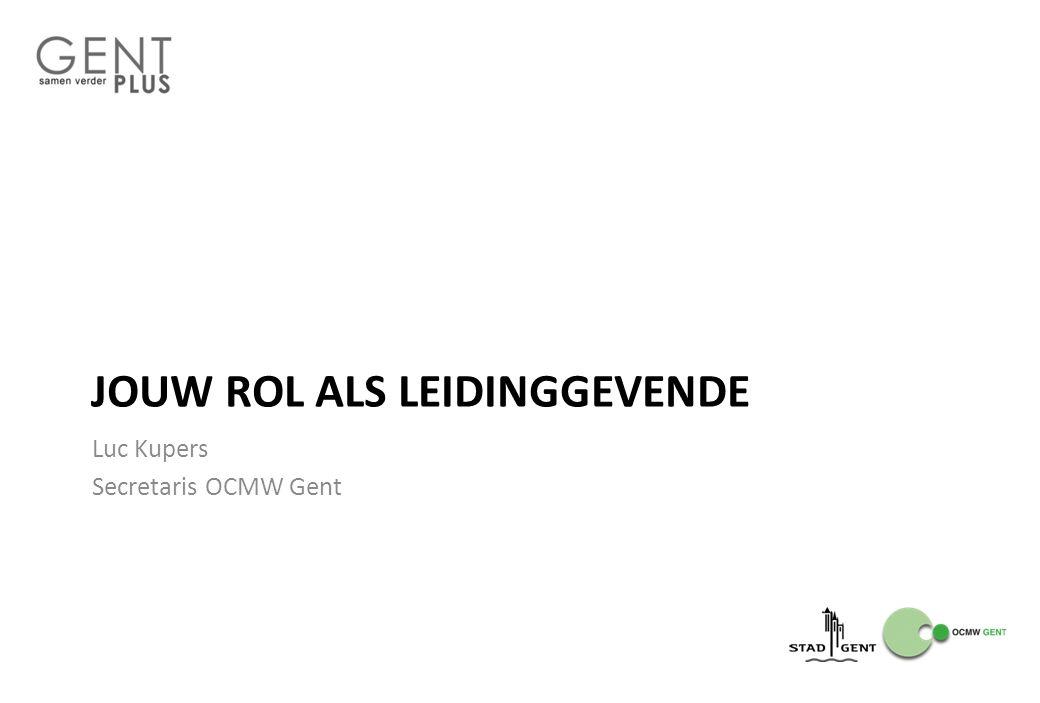 JOUW ROL ALS LEIDINGGEVENDE Luc Kupers Secretaris OCMW Gent