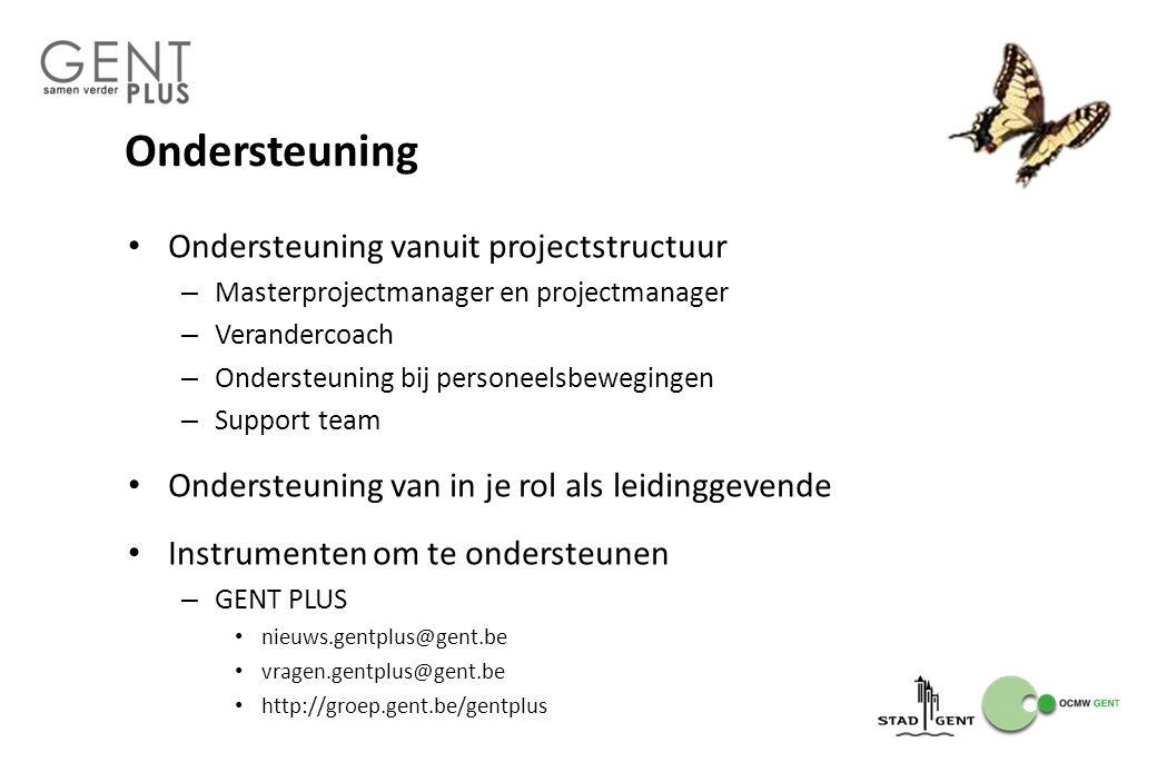 Ondersteuning Ondersteuning vanuit projectstructuur – Masterprojectmanager en projectmanager – Verandercoach – Ondersteuning bij personeelsbewegingen