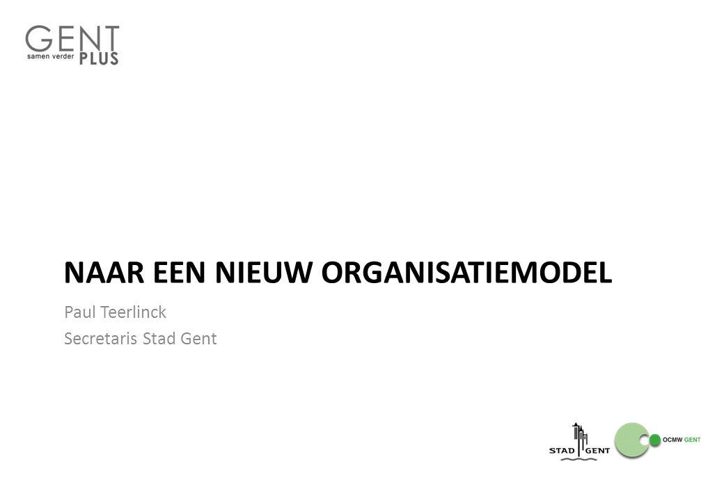 NAAR EEN NIEUW ORGANISATIEMODEL Paul Teerlinck Secretaris Stad Gent