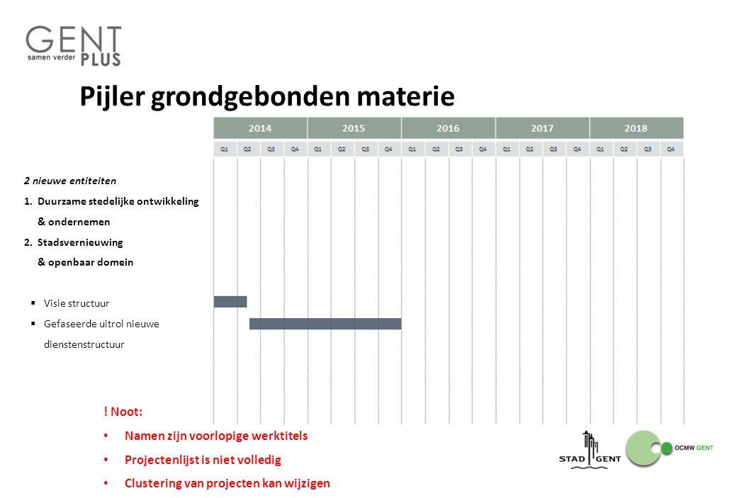 Pijler grondgebonden materie 2 nieuwe entiteiten 1.Duurzame stedelijke ontwikkeling & ondernemen 2.Stadsvernieuwing & openbaar domein  Visie structuu