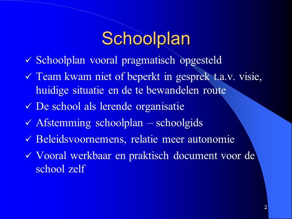 2 Schoolplan Schoolplan vooral pragmatisch opgesteld Team kwam niet of beperkt in gesprek t.a.v.