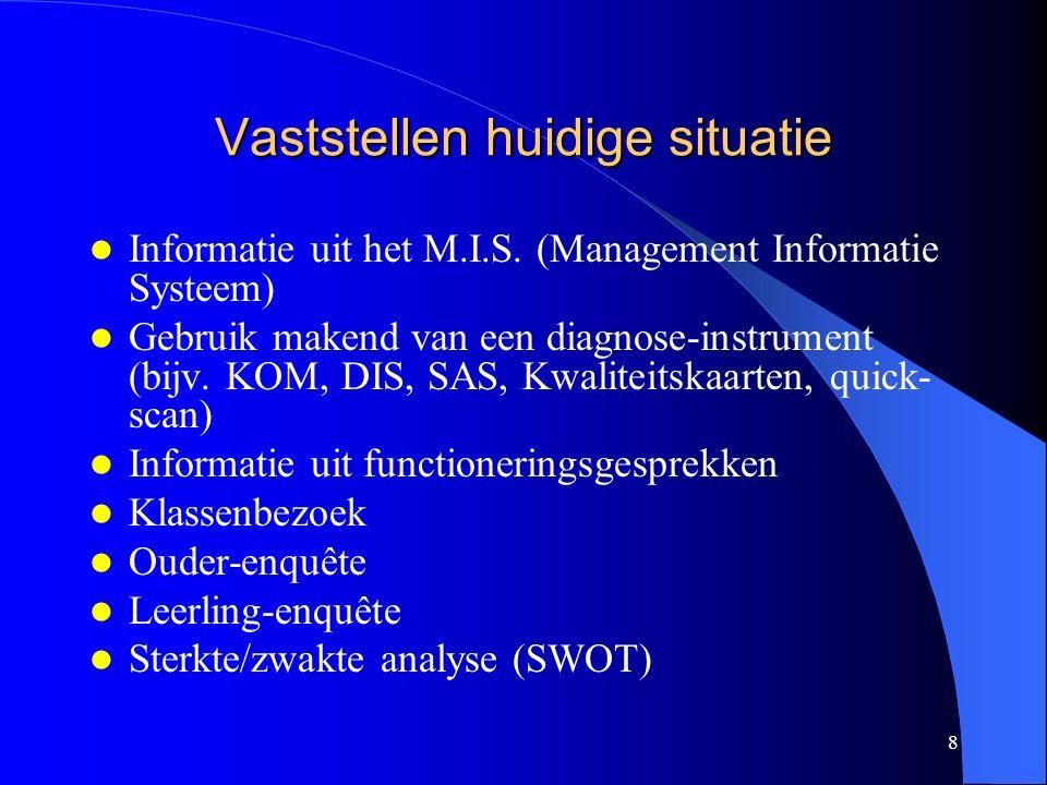 8 Vaststellen huidige situatie Informatie uit het M.I.S.