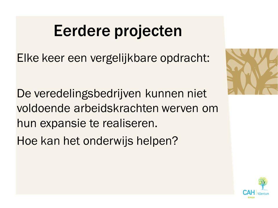 Eerdere projecten Elke keer een vergelijkbare opdracht: De veredelingsbedrijven kunnen niet voldoende arbeidskrachten werven om hun expansie te realiseren.