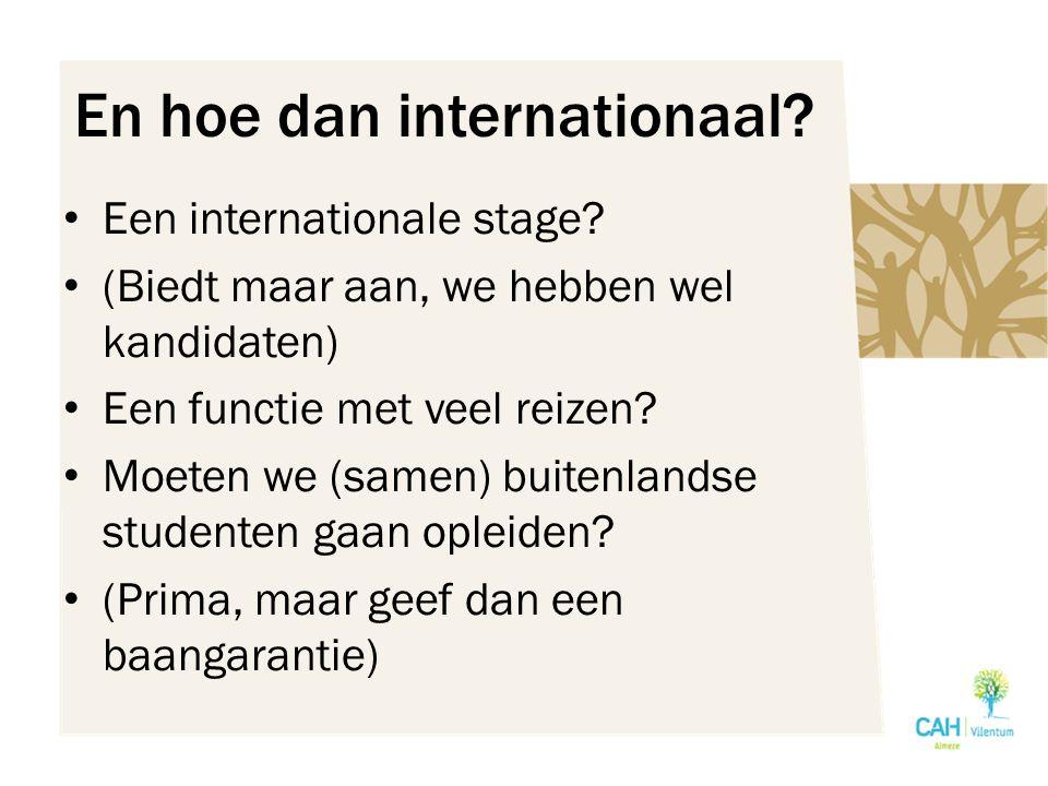 En hoe dan internationaal. Een internationale stage.