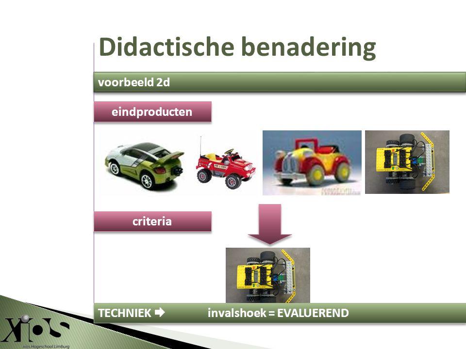 criteria eindproducten TECHNIEK  invalshoek = EVALUEREND Didactische benadering voorbeeld 2d