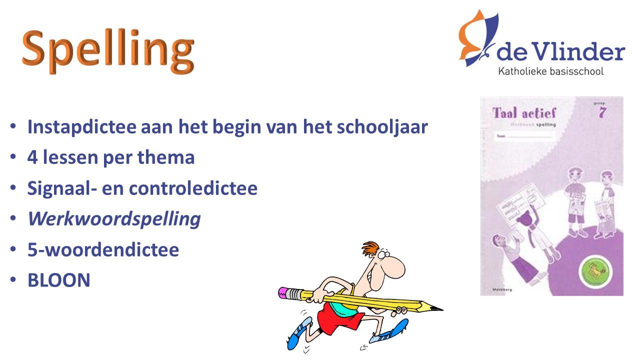 Instapdictee aan het begin van het schooljaar 4 lessen per thema Signaal- en controledictee Werkwoordspelling 5-woordendictee BLOON