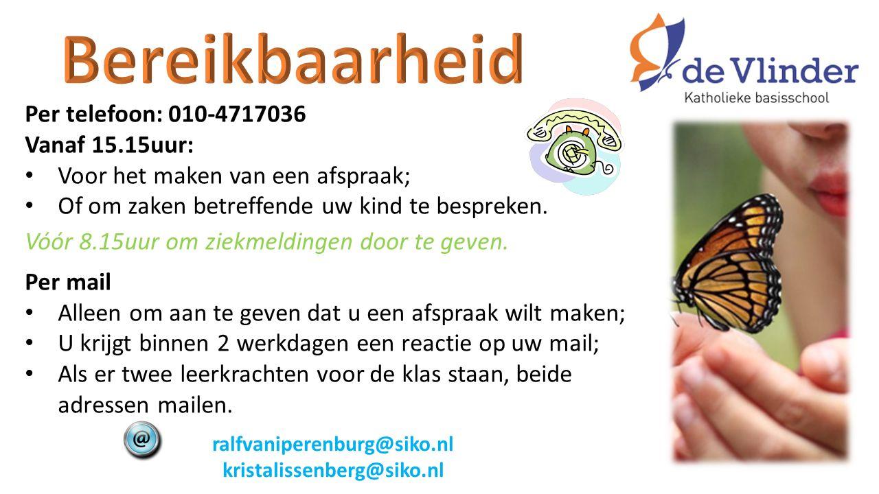 Per telefoon: 010-4717036 Vanaf 15.15uur: Voor het maken van een afspraak; Of om zaken betreffende uw kind te bespreken.