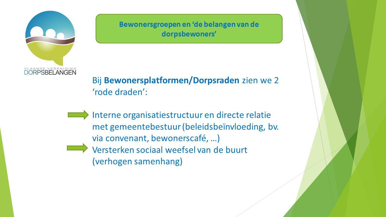 Bij Bewonersplatformen/Dorpsraden zien we 2 'rode draden': Interne organisatiestructuur en directe relatie met gemeentebestuur (beleidsbeïnvloeding, bv.