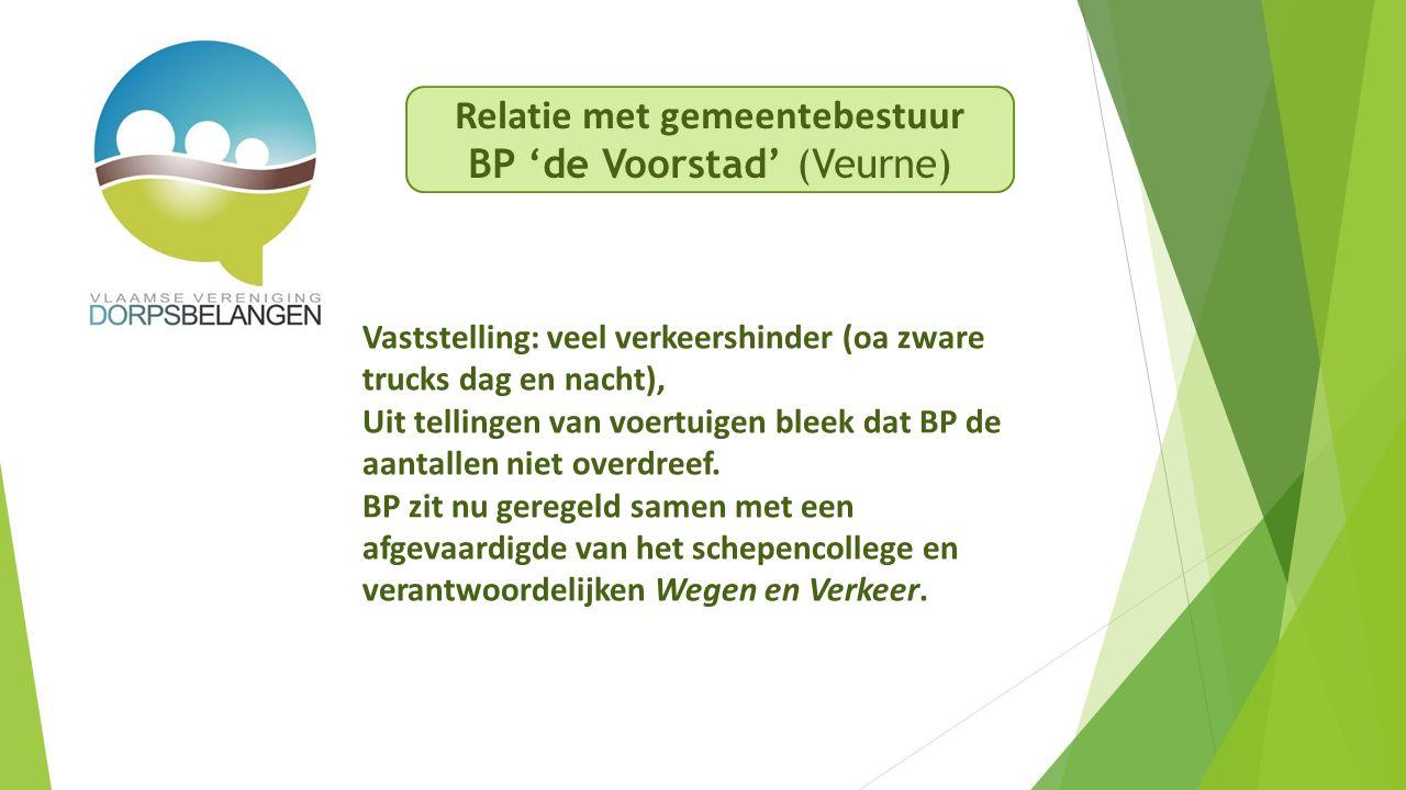 Relatie met gemeentebestuur BP 'de Voorstad' (Veurne) Vaststelling: veel verkeershinder (oa zware trucks dag en nacht), Uit tellingen van voertuigen bleek dat BP de aantallen niet overdreef.