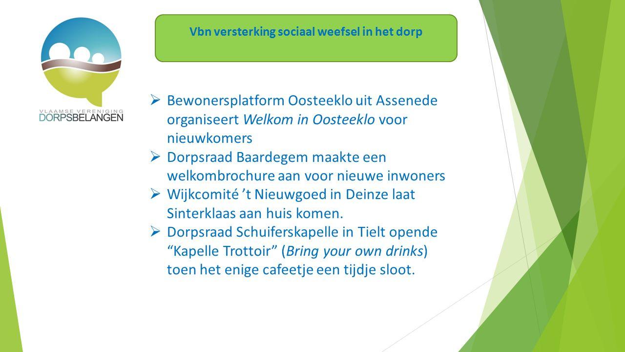  Bewonersplatform Oosteeklo uit Assenede organiseert Welkom in Oosteeklo voor nieuwkomers  Dorpsraad Baardegem maakte een welkombrochure aan voor nieuwe inwoners  Wijkcomité 't Nieuwgoed in Deinze laat Sinterklaas aan huis komen.