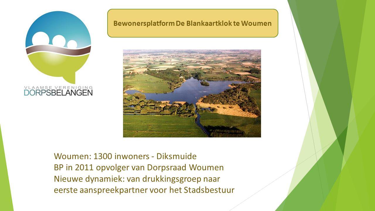 Woumen: 1300 inwoners - Diksmuide BP in 2011 opvolger van Dorpsraad Woumen Nieuwe dynamiek: van drukkingsgroep naar eerste aanspreekpartner voor het Stadsbestuur Bewonersplatform De Blankaartklok te Woumen