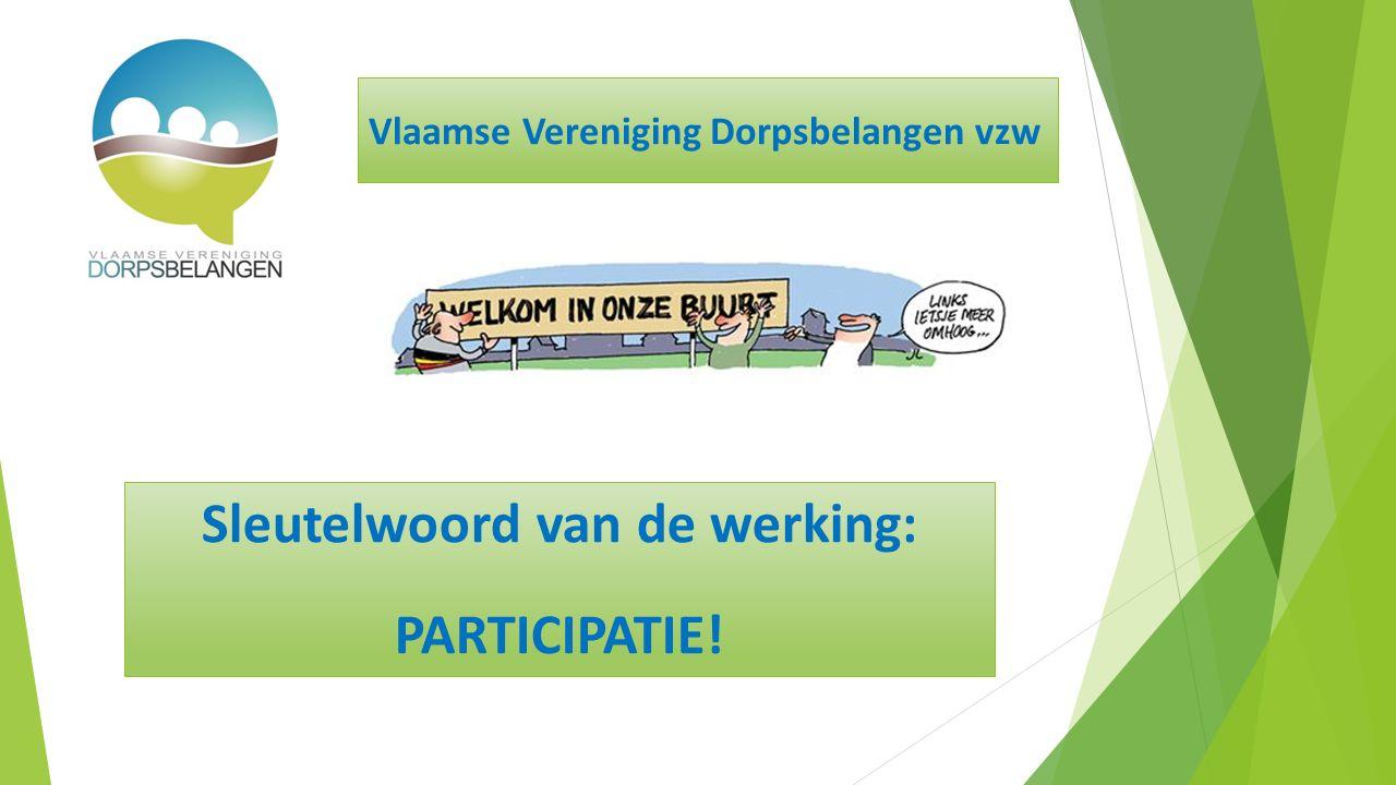 Sleutelwoord van de werking: PARTICIPATIE! Vlaamse Vereniging Dorpsbelangen vzw