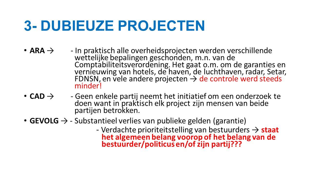 ARA →- In praktisch alle overheidsprojecten werden verschillende wettelijke bepalingen geschonden, m.n.
