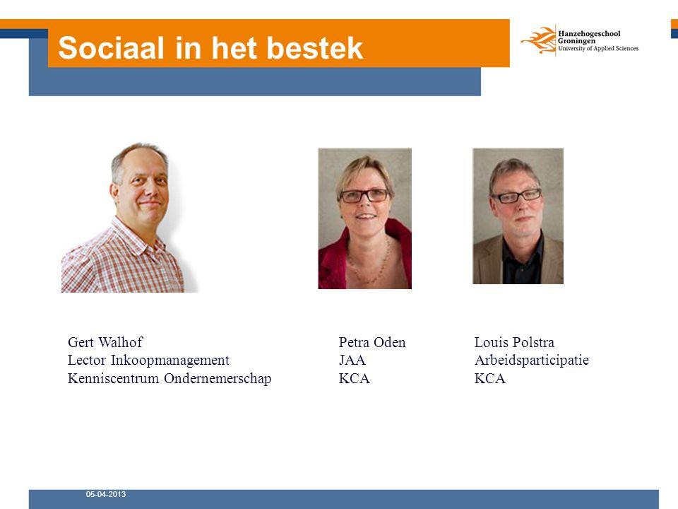 Sociaal in het bestek 05-04-2013 Gert WalhofPetra OdenLouis Polstra Lector InkoopmanagementJAAArbeidsparticipatie Kenniscentrum OndernemerschapKCAKCA