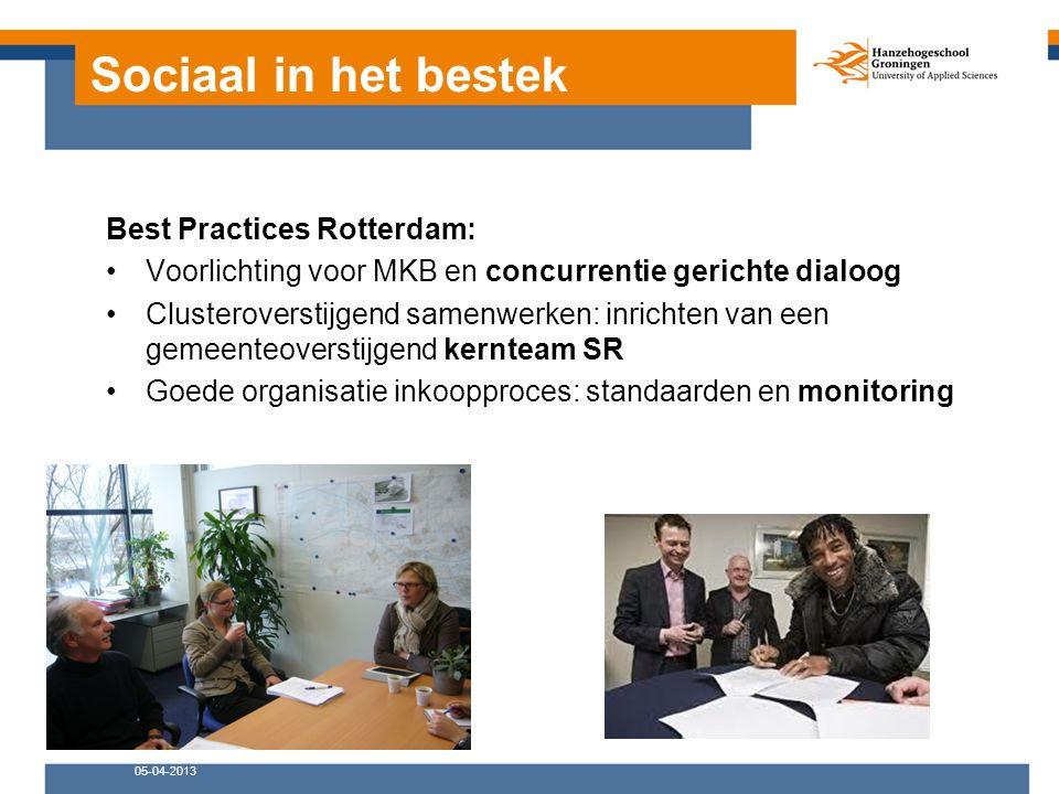 Sociaal in het bestek Best Practices Rotterdam: Voorlichting voor MKB en concurrentie gerichte dialoog Clusteroverstijgend samenwerken: inrichten van een gemeenteoverstijgend kernteam SR Goede organisatie inkoopproces: standaarden en monitoring 05-04-2013