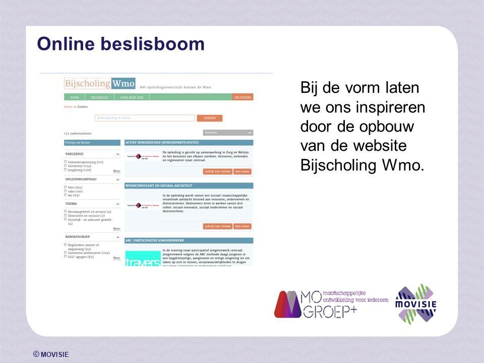 © MOVISIE Online beslisboom Bij de vorm laten we ons inspireren door de opbouw van de website Bijscholing Wmo.