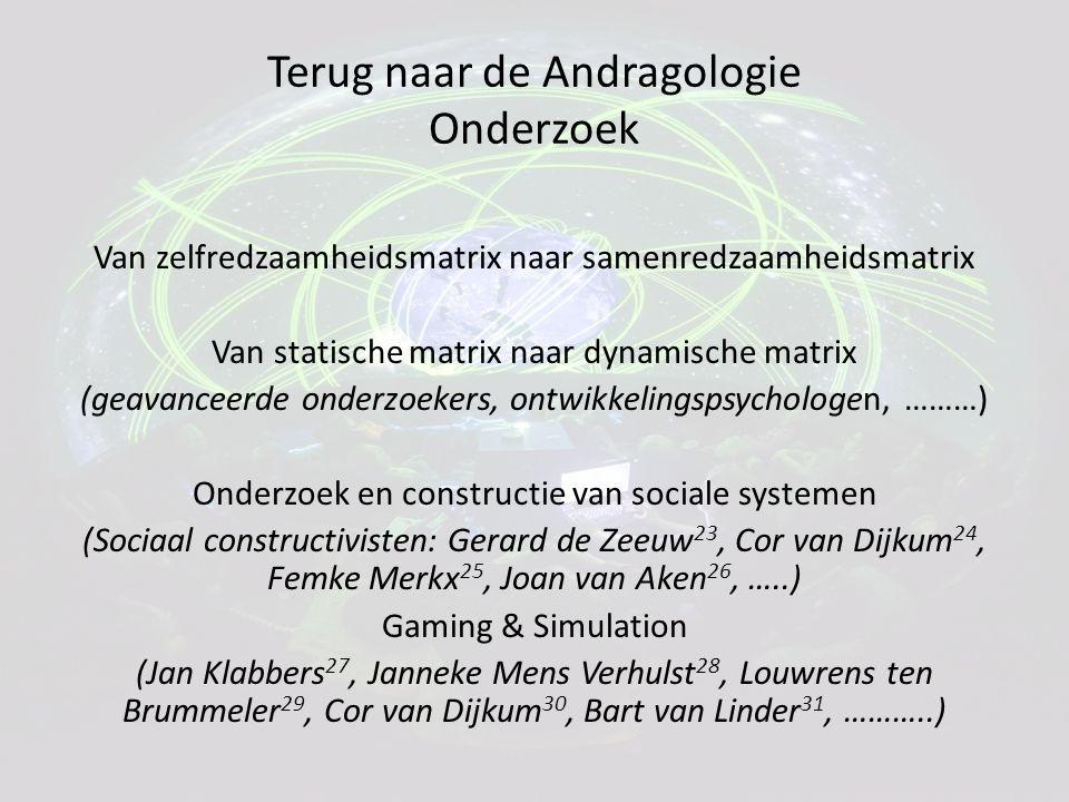 Terug naar de Andragologie Onderzoek Van zelfredzaamheidsmatrix naar samenredzaamheidsmatrix Van statische matrix naar dynamische matrix (geavanceerde onderzoekers, ontwikkelingspsychologen, ………) Onderzoek en constructie van sociale systemen (Sociaal constructivisten: Gerard de Zeeuw 23, Cor van Dijkum 24, Femke Merkx 25, Joan van Aken 26, …..) Gaming & Simulation (Jan Klabbers 27, Janneke Mens Verhulst 28, Louwrens ten Brummeler 29, Cor van Dijkum 30, Bart van Linder 31, ………..)