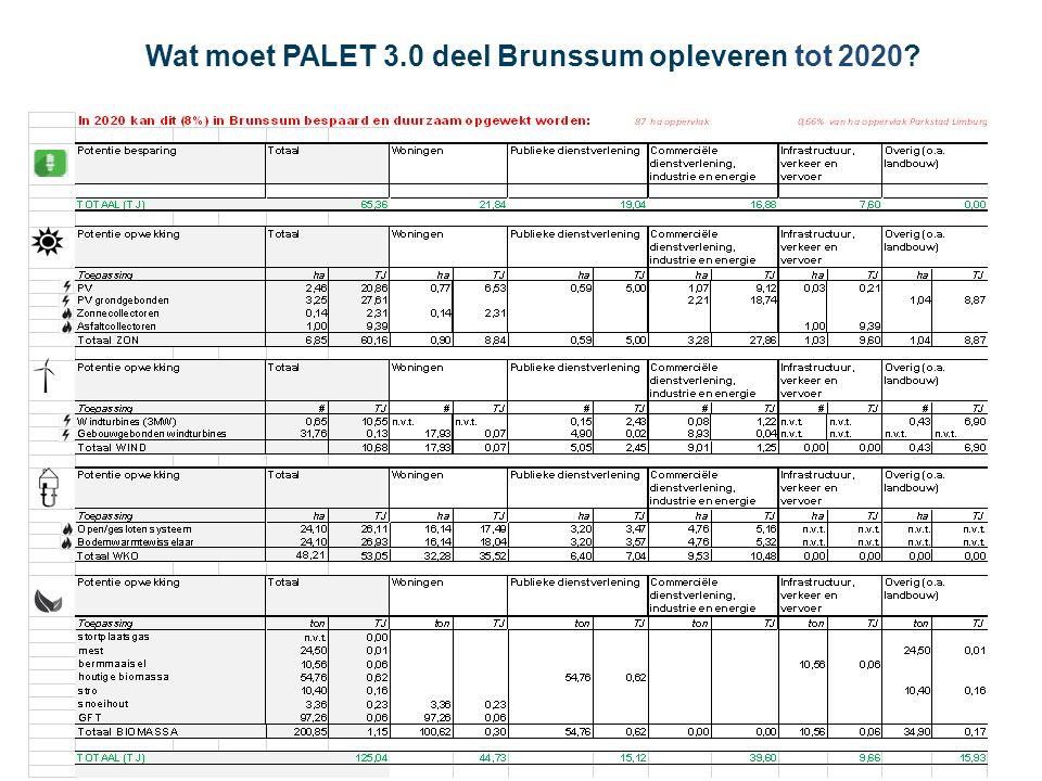 Wat moet PALET 3.0 deel Brunssum opleveren tot 2020?