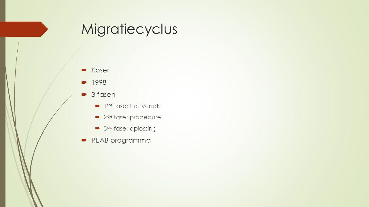 Migratiecyclus  Koser  1998  3 fasen  1 ste fase: het vertek  2 de fase: procedure  3 de fase: oplossing  REAB programma