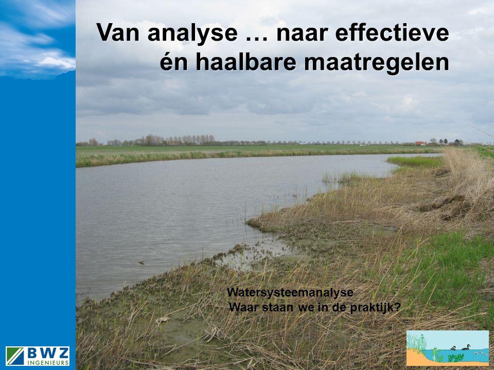 Van analyse … naar effectieve én haalbare maatregelen Watersysteemanalyse Waar staan we in de praktijk