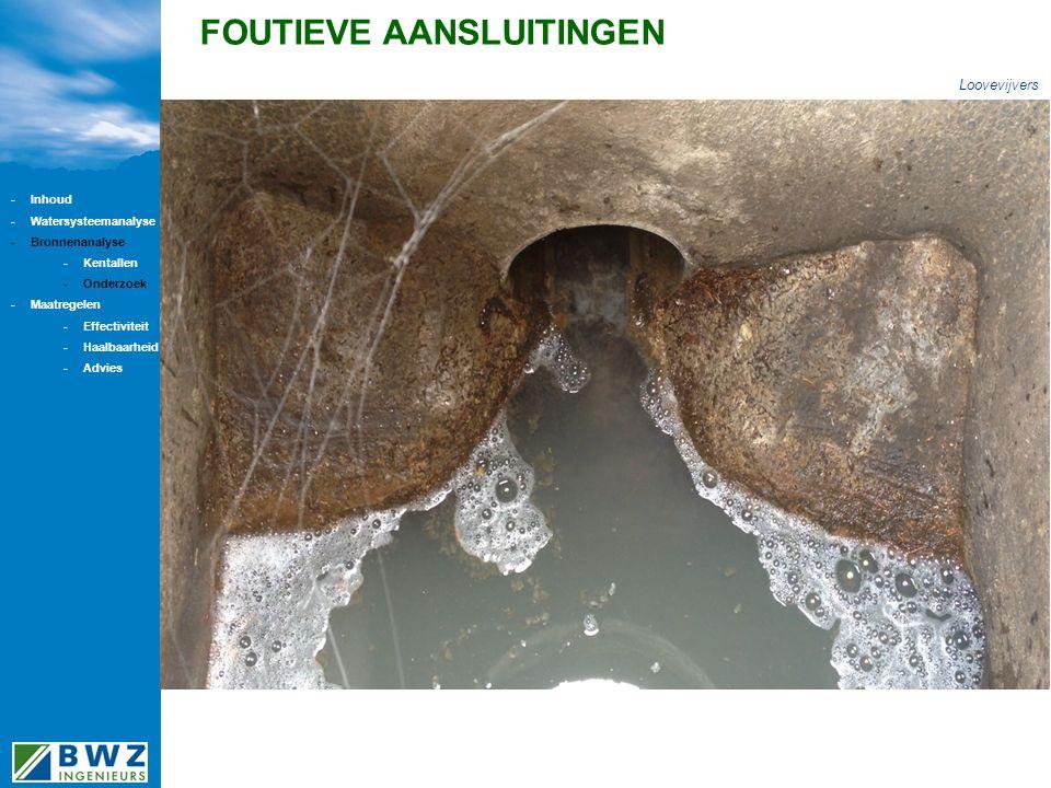 FOUTIEVE AANSLUITINGEN Loovevijvers -Inhoud -Watersysteemanalyse -Bronnenanalyse -Kentallen -Onderzoek -Maatregelen -Effectiviteit -Haalbaarheid -Advi