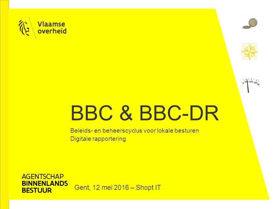 BBC & BBC-DR Beleids- en beheerscyclus voor lokale besturen Digitale rapportering Gent, 12 mei 2016 – Shopt IT