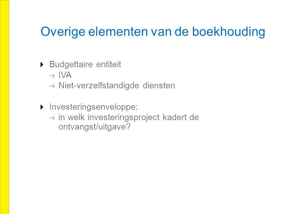 Overige elementen van de boekhouding Budgettaire entiteit IVA Niet-verzelfstandigde diensten Investeringsenveloppe: in welk investeringsproject kadert de ontvangst/uitgave?