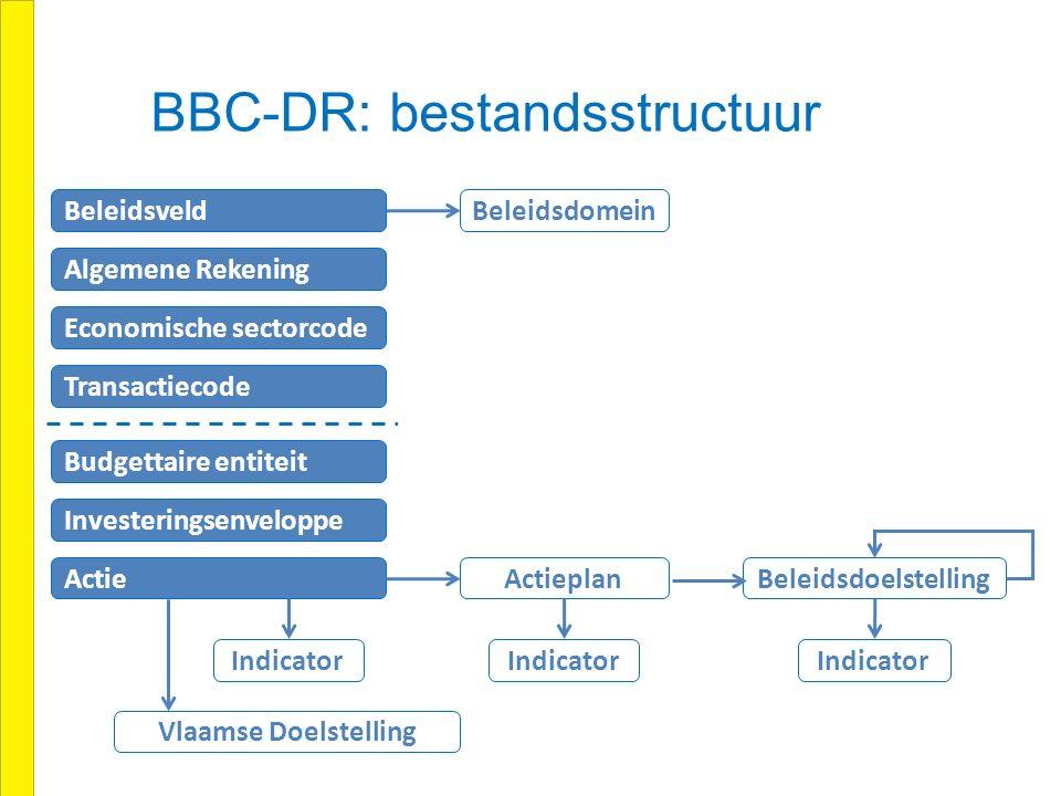 BBC-DR: bestandsstructuur Algemene Rekening Beleidsdomein Beleidsveld Economische sectorcode Transactiecode Budgettaire entiteit Investeringsenveloppe Actie Beleidsdoelstelling Indicator Actieplan Vlaamse Doelstelling Indicator