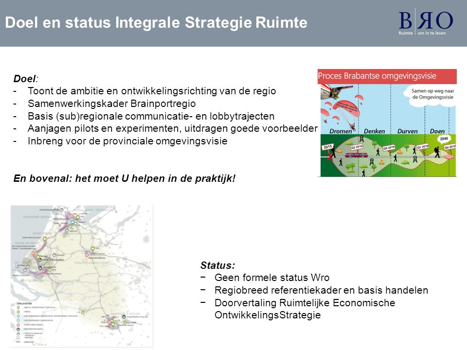 Doel en status Integrale Strategie Ruimte Doel: -Toont de ambitie en ontwikkelingsrichting van de regio -Samenwerkingskader Brainportregio -Basis (sub