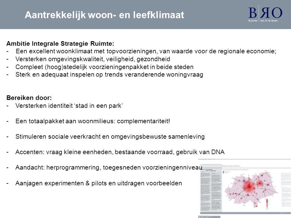 Ambitie Integrale Strategie Ruimte: - Een excellent woonklimaat met topvoorzieningen, van waarde voor de regionale economie; -Versterken omgevingskwal