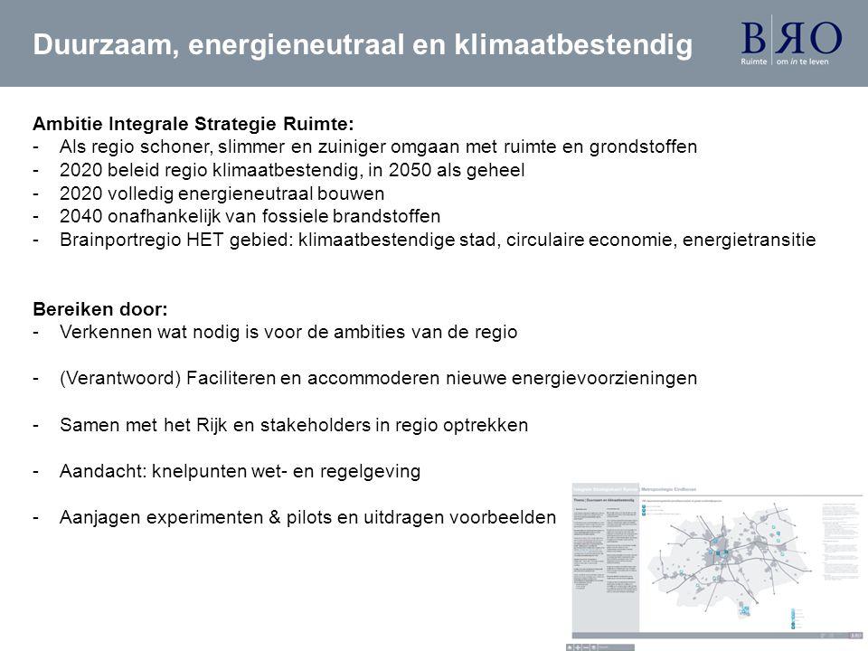 Duurzaam, energieneutraal en klimaatbestendig Ambitie Integrale Strategie Ruimte: -Als regio schoner, slimmer en zuiniger omgaan met ruimte en grondst