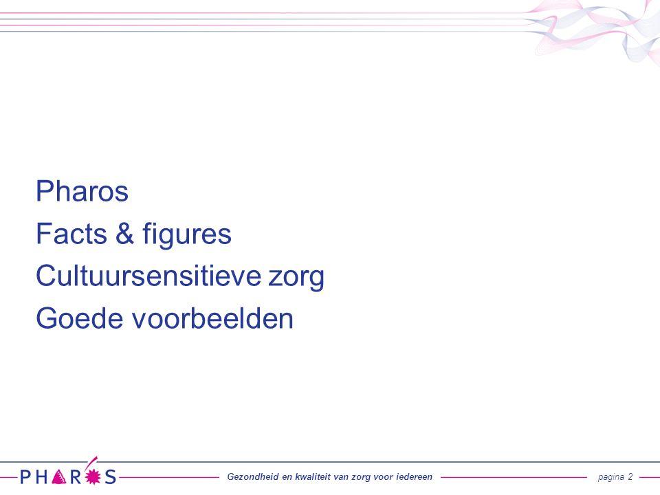 Gezondheid en kwaliteit van zorg voor iedereenpagina 2 Pharos Facts & figures Cultuursensitieve zorg Goede voorbeelden