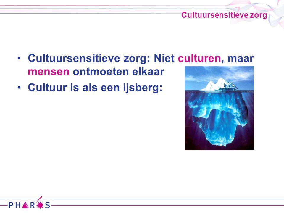 Cultuursensitieve zorg Cultuursensitieve zorg: Niet culturen, maar mensen ontmoeten elkaar Cultuur is als een ijsberg: