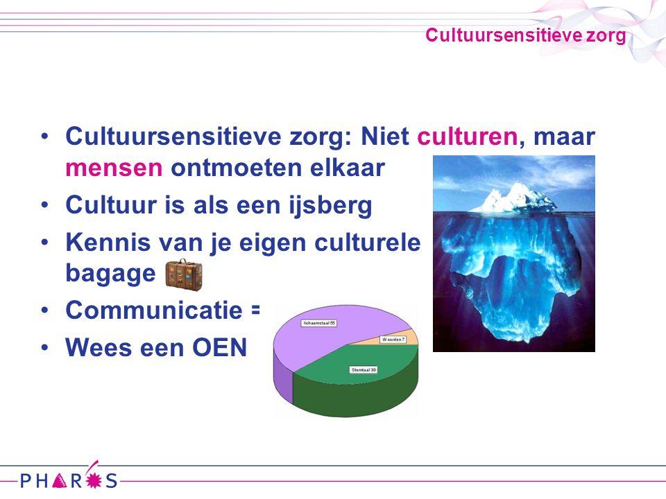 Cultuursensitieve zorg Cultuursensitieve zorg: Niet culturen, maar mensen ontmoeten elkaar Cultuur is als een ijsberg Kennis van je eigen culturele bagage Communicatie = Wees een OEN