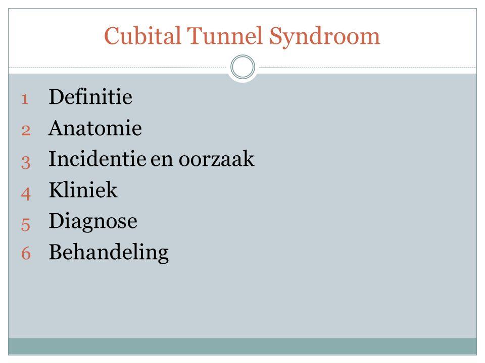 Cubital Tunnel Syndroom 1 Definitie o Inklemming Nervus Ulnaris o Acuut / chronisch o Symptomen