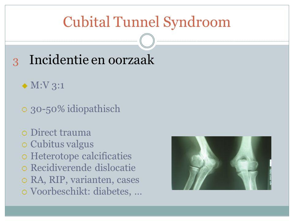 Cubital Tunnel Syndroom 3 Incidentie en oorzaak  M:V 3:1  30-50% idiopathisch  Direct trauma  Cubitus valgus  Heterotope calcificaties  Recidiverende dislocatie  RA, RIP, varianten, cases  Voorbeschikt: diabetes, …
