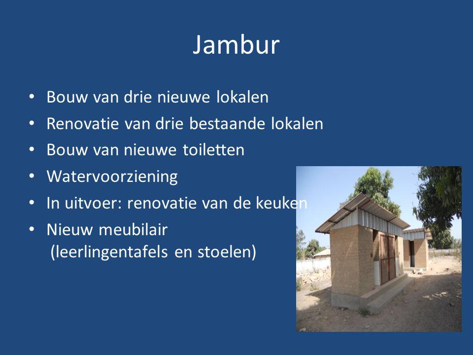 Jambur Bouw van drie nieuwe lokalen Renovatie van drie bestaande lokalen Bouw van nieuwe toiletten Watervoorziening In uitvoer: renovatie van de keuken Nieuw meubilair (leerlingentafels en stoelen)