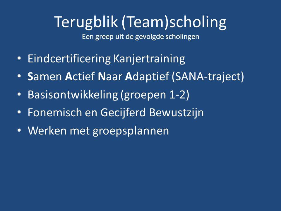 Terugblik (Team)scholing Een greep uit de gevolgde scholingen Eindcertificering Kanjertraining Samen Actief Naar Adaptief (SANA-traject) Basisontwikkeling (groepen 1-2) Fonemisch en Gecijferd Bewustzijn Werken met groepsplannen